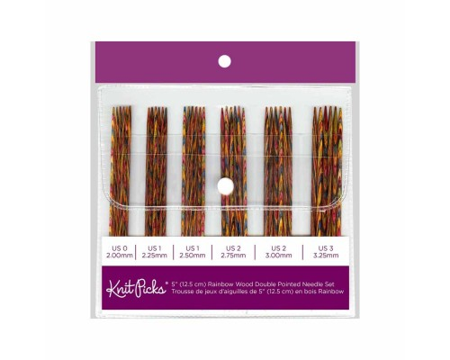"KnitPicks 4"" Rainbow Wood Double Pointed Small Set- 7 sets"