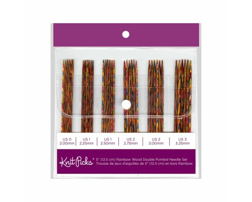 "Knitpicks 5""(12cm) Rainbow Wood Double Point Needle Set Size 2-3.5mm"