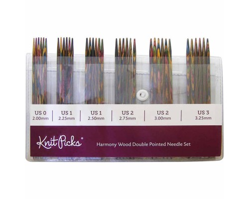 "KnitPicks 6"" Rainbow Wood Double Pointed Small Set- 6 sets"