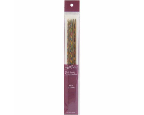 "Knitpicks 8"" (20cm) Rainbow Wood Double Point Needle"