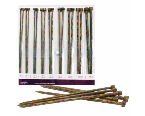 "Knitpicks Rainbow 14""(35cm) Laminated Birch Wood Single Point Set 3.5-8mm"