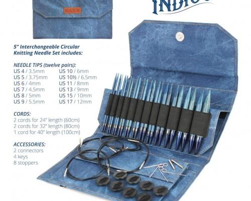 """LYKKE 5"""" Driftwood Indigo Interchangeable Needle Set - 12 Pairs"""