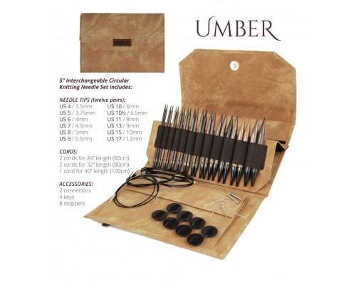 """LYKKE 5"""" Driftwood Umber Interchangeable Needle Set - 12 Pairs"""