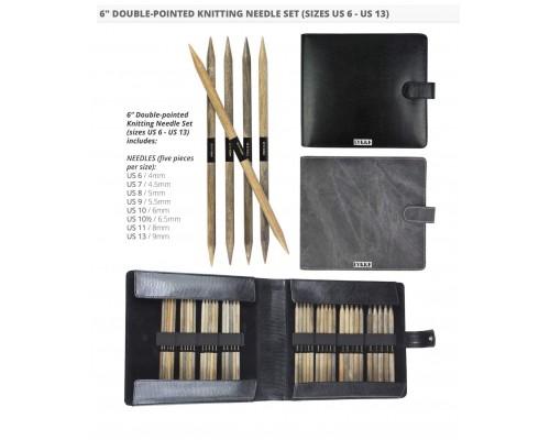 """LYKKE 6"""" Driftwood Double Pointed Large Set- Grey Denim- Individual Gift Set Of 8"""