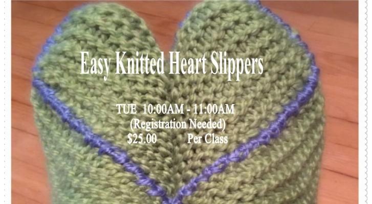 Easy Knitted Heart Slippers